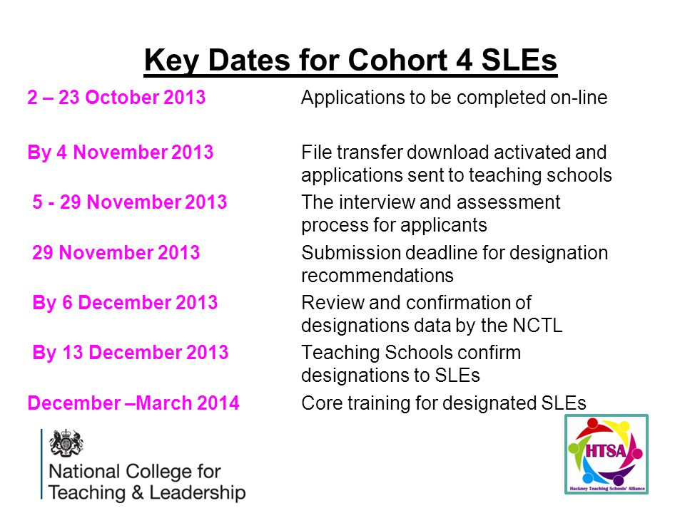 Key Dates for Cohort 4 SLEs 2 – 23 October 2013Applications to be completed on-line By 4 November 2013 File transfer download activated and applications sent to teaching schools 5 - 29 November 2013 The interview and assessment process for applicants 29 November 2013 Submission deadline for designation recommendations By 6 December 2013 Review and confirmation of designations data by the NCTL By 13 December 2013Teaching Schools confirm designations to SLEs December –March 2014Core training for designated SLEs