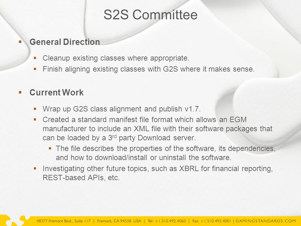 S2S Committee  General Direction  Cleanup existing classes where appropriate.