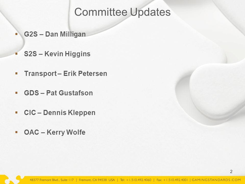  G2S – Dan Milligan  S2S – Kevin Higgins  Transport – Erik Petersen  GDS – Pat Gustafson  CIC – Dennis Kleppen  OAC – Kerry Wolfe 2