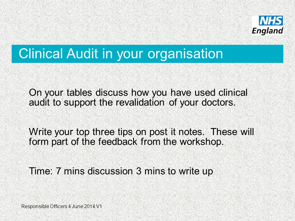 Clinical Audit in your organisation On your tables discuss how you have used clinical audit to support the revalidation of your doctors.