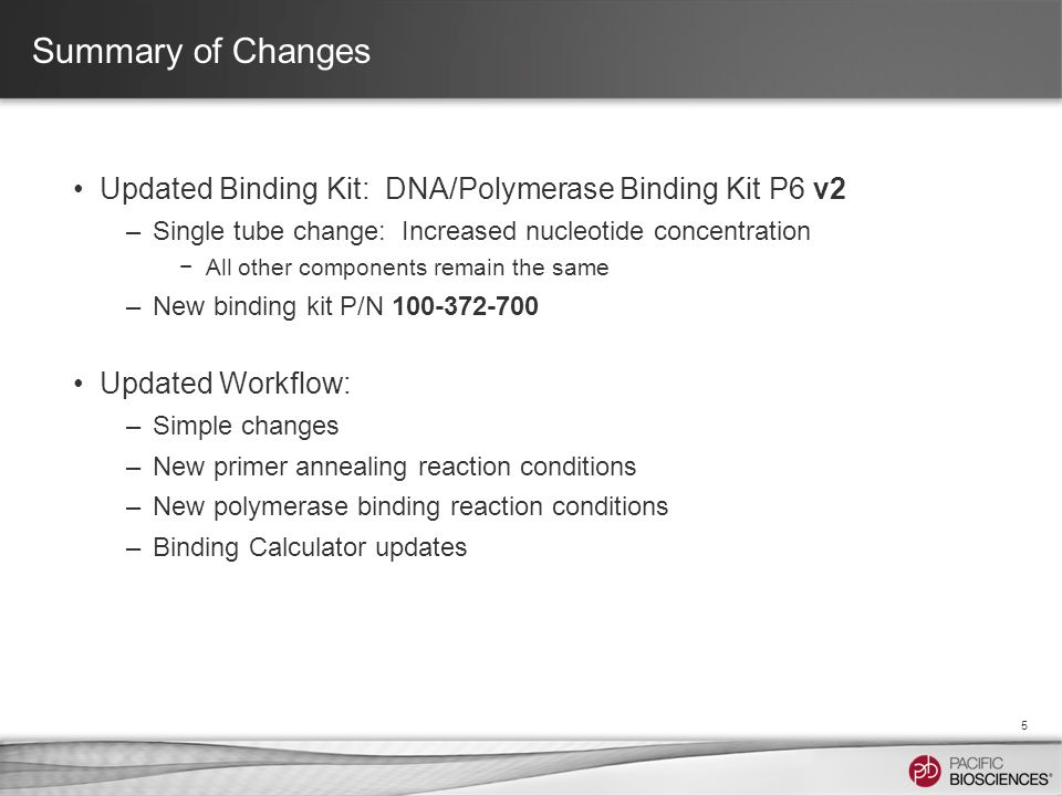Summary of Changes Updated Binding Kit: DNA/Polymerase Binding Kit P6 v2 –Single tube change: Increased nucleotide concentration −All other components remain the same –New binding kit P/N 100-372-700 Updated Workflow: –Simple changes –New primer annealing reaction conditions –New polymerase binding reaction conditions –Binding Calculator updates 5