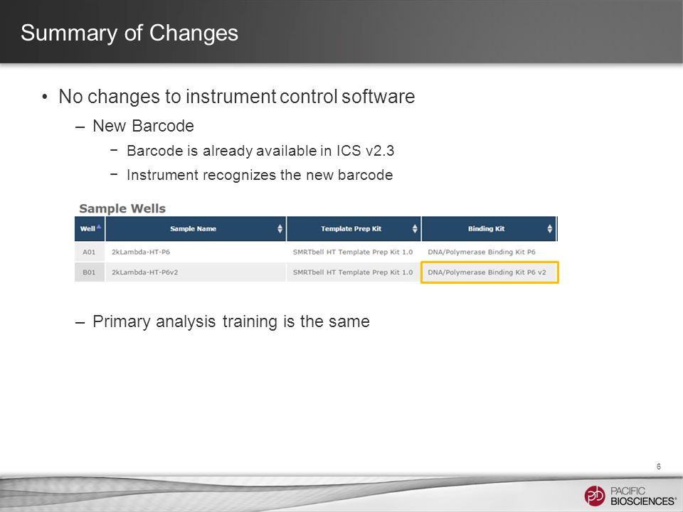 Summary of Changes No changes to instrument control software –New Barcode −Barcode is already available in ICS v2.3 −Instrument recognizes the new barcode –Primary analysis training is the same 6