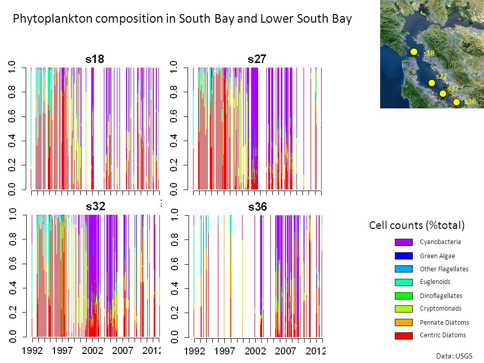 Phytoplankton composition in South Bay and Lower South Bay s36 s32 s27 s18 Data: USGS Cell counts (%total) Centric Diatoms Pennate Diatoms Cryptomonads Dinoflagellates Euglenoids Other Flagellates Green Algae Cyanobacteria