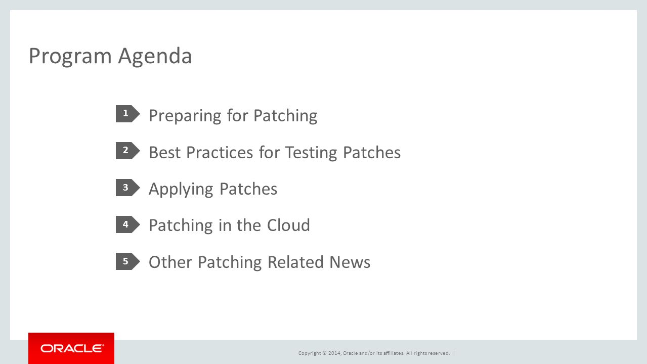 Copyright © 2014, Oracle and/or its affiliates. All rights reserved. | Program Agenda Preparing for Patching Best Practices for Testing Patches Applyi
