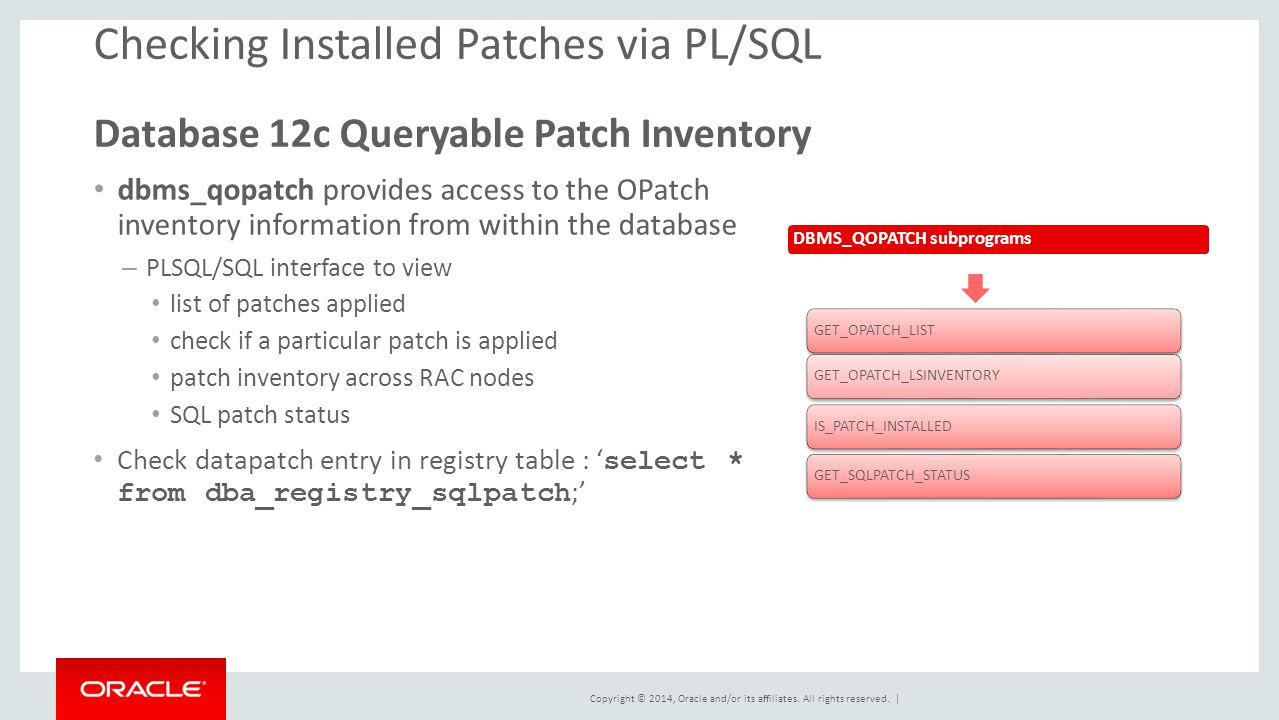 Copyright © 2014, Oracle and/or its affiliates. All rights reserved. | Checking Installed Patches via PL/SQL Database 12c Queryable Patch Inventory db