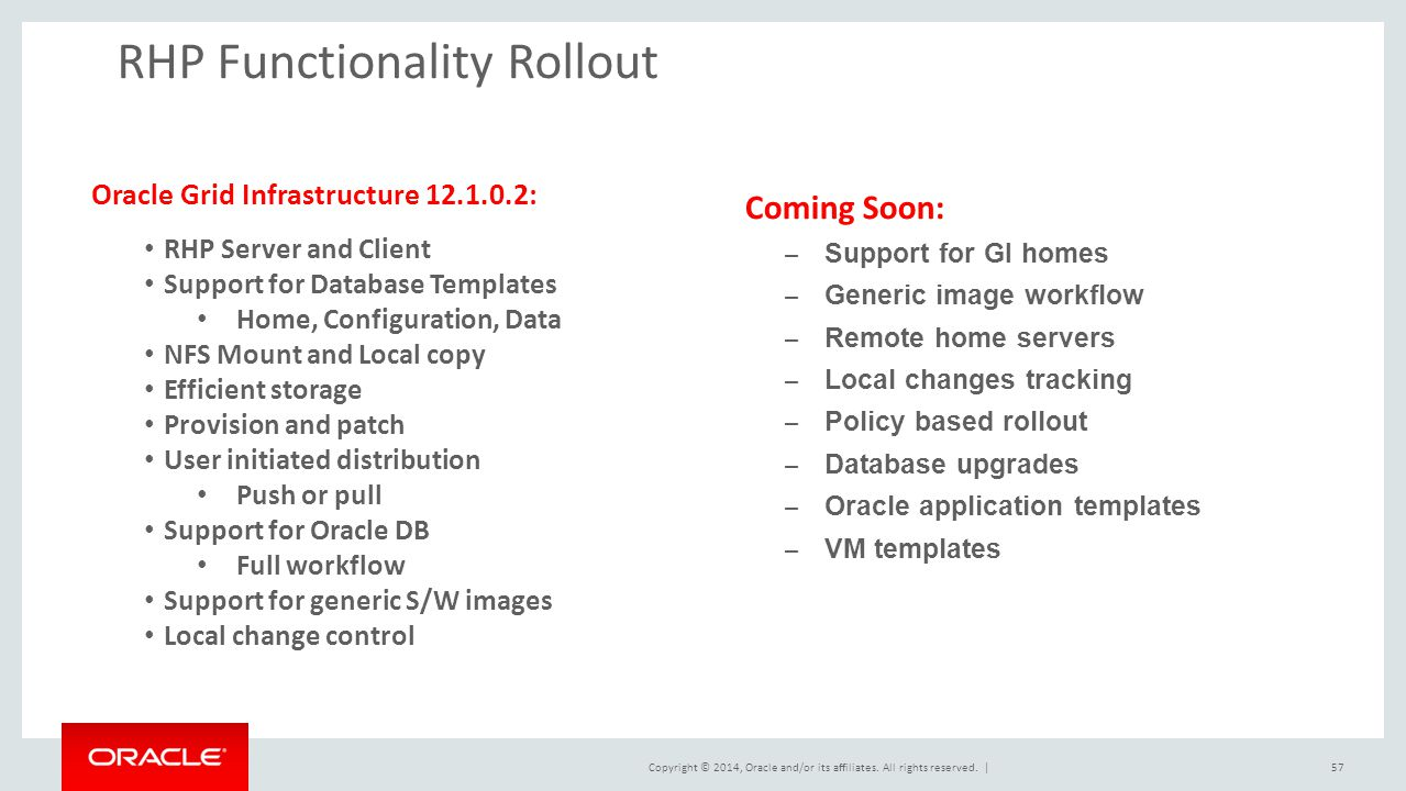 Copyright © 2014, Oracle and/or its affiliates. All rights reserved. |57 RHP Functionality Rollout Oracle Grid Infrastructure 12.1.0.2: RHP Server and