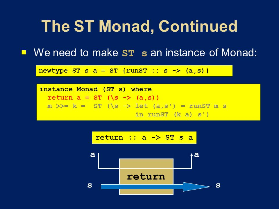  We need to make ST s an instance of Monad: instance Monad (ST s) where return a = ST (\s -> (a,s)) m >>= k = ST (\s -> let (a,s ) = runST m s in runST (k a) s ) newtype ST s a = ST {runST :: s -> (a,s)} return :: a -> ST s a return s aa s