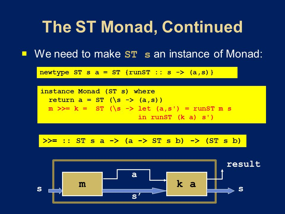  We need to make ST s an instance of Monad: instance Monad (ST s) where return a = ST (\s -> (a,s)) m >>= k = ST (\s -> let (a,s ) = runST m s in runST (k a) s ) newtype ST s a = ST {runST :: s -> (a,s)} >>= :: ST s a -> (a -> ST s b) -> (ST s b) k am a s s' s result