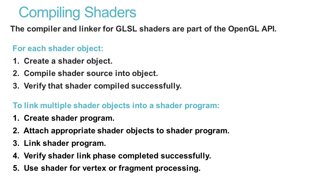 Compiling Shaders The compiler and linker for GLSL shaders are part of the OpenGL API.