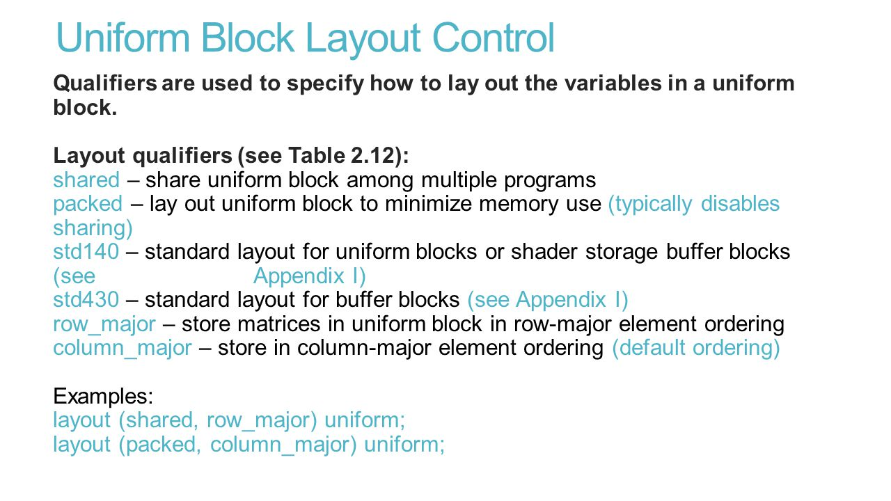 Uniform Block Layout Control Qualifiers are used to specify how to lay out the variables in a uniform block.