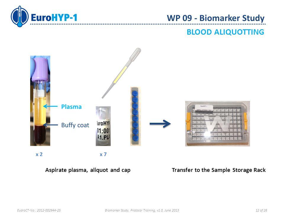Aspirate plasma, aliquot and capTransfer to the Sample Storage Rack WP 09 - Biomarker Study BLOOD ALIQUOTTING EudraCT-No.: 2012-002944-25Biomarker Stu