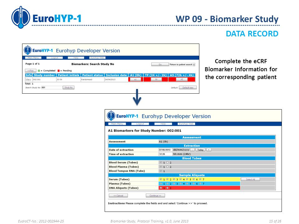 Complete the eCRF Biomarker Information for the corresponding patient WP 09 - Biomarker Study DATA RECORD EudraCT-No.: 2012-002944-25Biomarker Study, Protocol Training, v1.0, June 201315 of 26