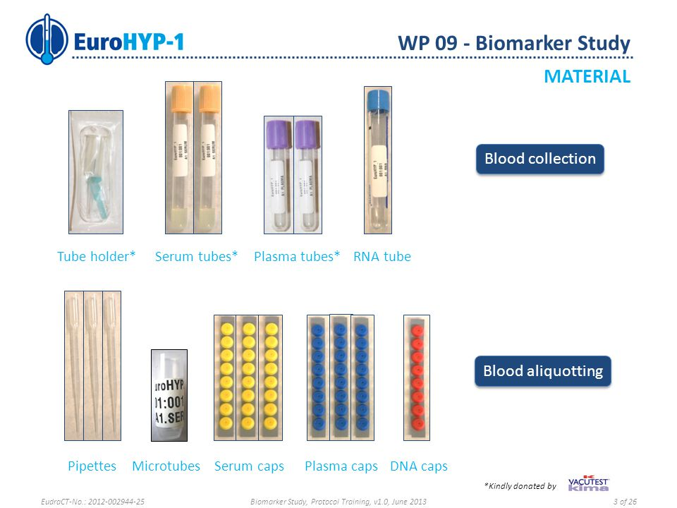WP 09 - Biomarker Study SAMPLE SHIPMENT Ask for more Patient Sample Material EudraCT-No.: 2012-002944-25Biomarker Study, Protocol Training, v1.0, June 201324 of 26