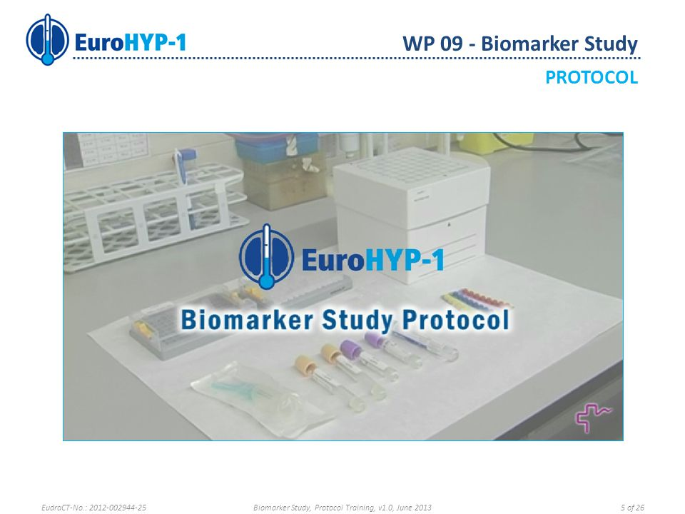Written and Video versions of the Biomarker Protocol will be available at: —EuroHYP-1 Training Portal —Milliarium Platform → Documents → SOPs —http://goo.gl/XpCfxhttp://goo.gl/XpCfx For further information regarding the Biomarker Study please contact Biomarker Study Coordination at info.lin.bcn@gmail.com info.lin.bcn@gmail.com Neurovascular Research Laboratory Vall d'Hebrón Research Institute Mediterrania Building Pg.