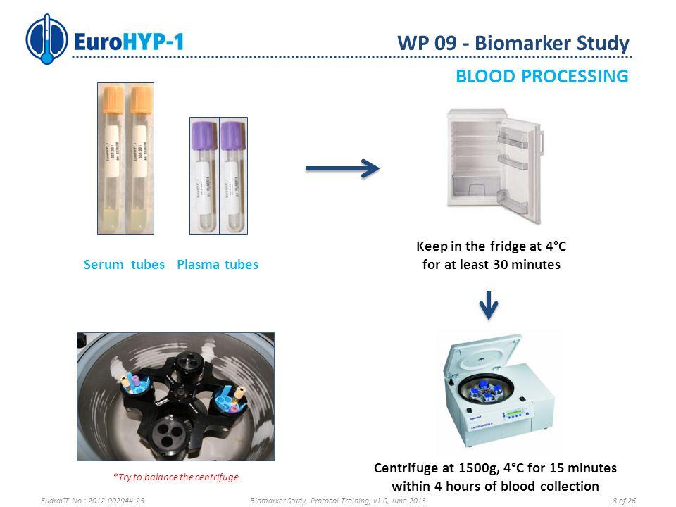 Serum tubes Plasma tubes WP 09 - Biomarker Study BLOOD PROCESSING EudraCT-No.: 2012-002944-25Biomarker Study, Protocol Training, v1.0, June 20139 of 26