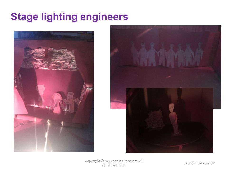 Stage lighting engineers 3 of 49 Version 3.0 Copyright © AQA and its licensors.