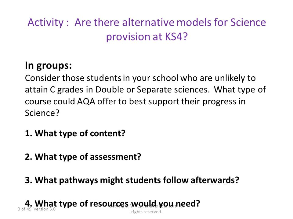 Activity : Are there alternative models for Science provision at KS4? 3 of 49 Version 3.0 Copyright © AQA and its licensors. All rights reserved. In g