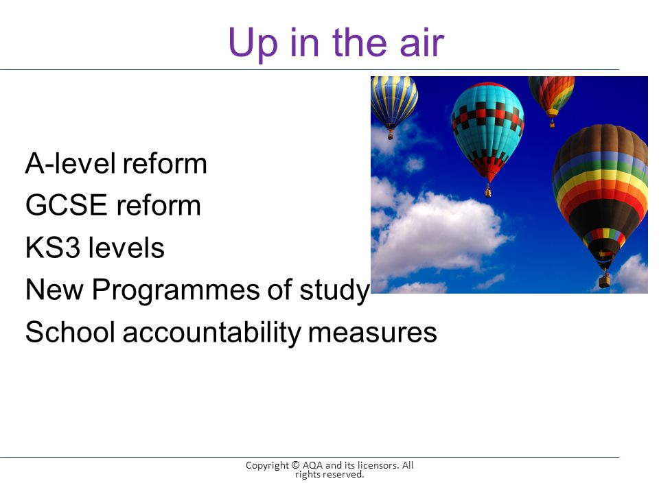 Up in the air 3 of 9 Copyright © AQA and its licensors.