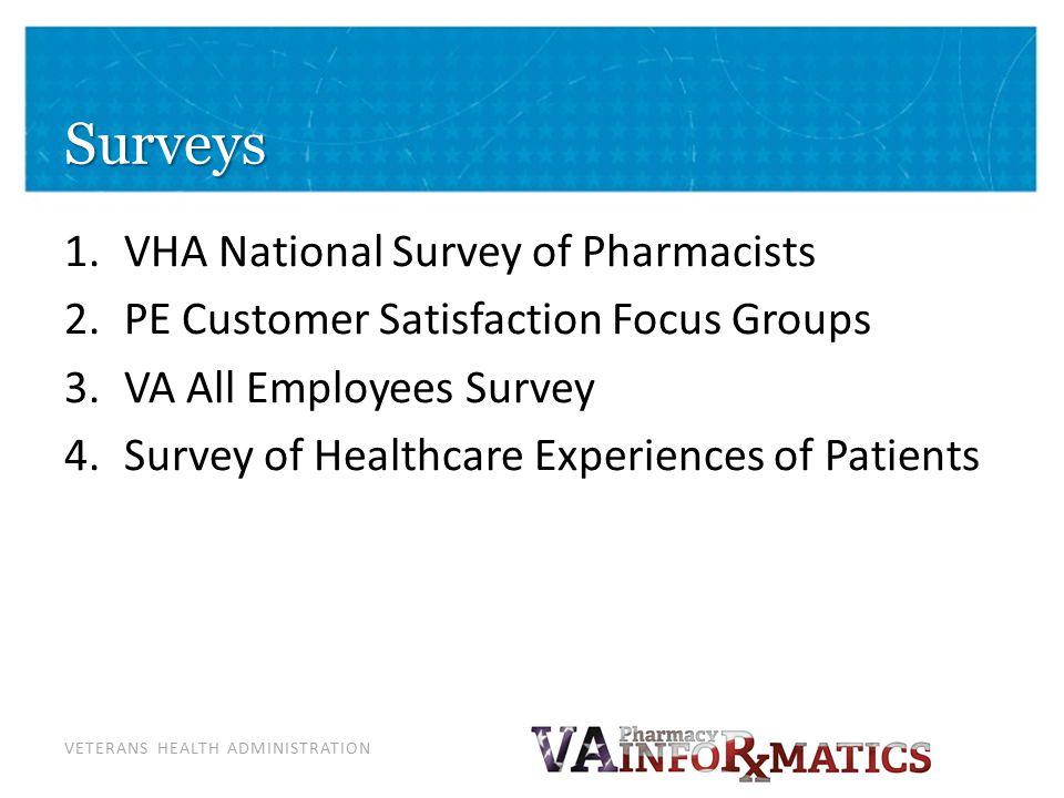 VETERANS HEALTH ADMINISTRATION Surveys 1.VHA National Survey of Pharmacists 2.PE Customer Satisfaction Focus Groups 3.VA All Employees Survey 4.Survey