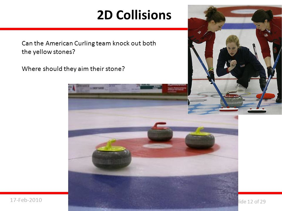 Physics 7B Lecture 717-Feb-2010 Slide 12 of 29 2D Collisions Can the American Curling team knock out both the yellow stones.