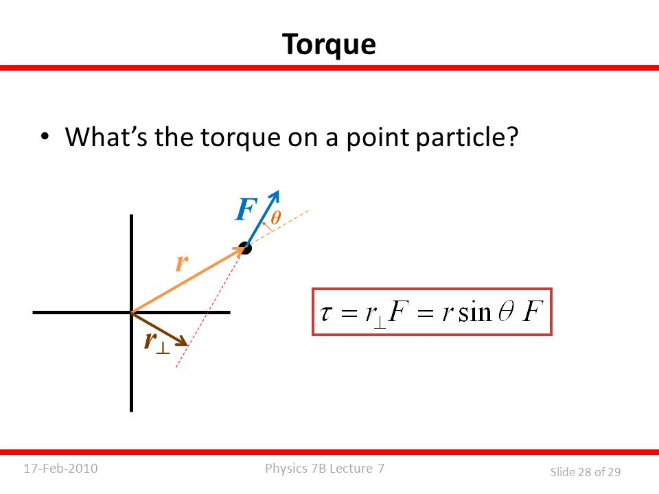 Physics 7B Lecture 717-Feb-2010 Slide 28 of 29 Torque What's the torque on a point particle.