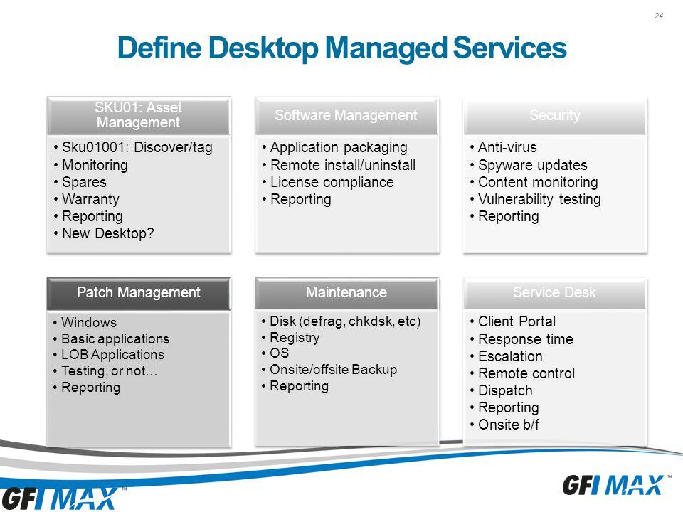 24 Define Desktop Managed Services SKU01: Asset Management Sku01001: Discover/tag Monitoring Spares Warranty Reporting New Desktop.