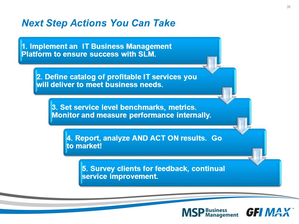 36 Next Step Actions You Can Take 1. Implement an IT Business Management Platform to ensure success with SLM. 2. Define catalog of profitable IT servi