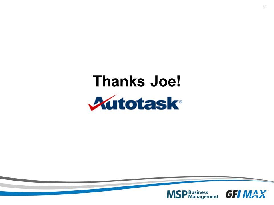 37 Thanks Joe!