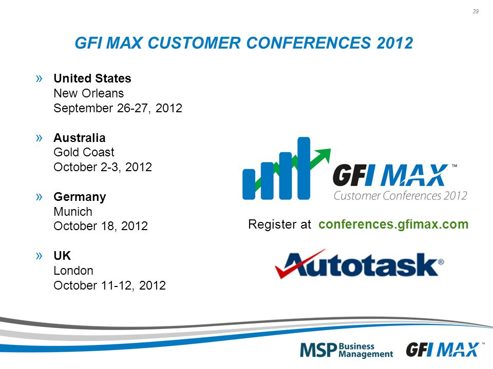 39 GFI MAX CUSTOMER CONFERENCES 2012 » United States New Orleans September 26-27, 2012 » Australia Gold Coast October 2-3, 2012 » Germany Munich Octob