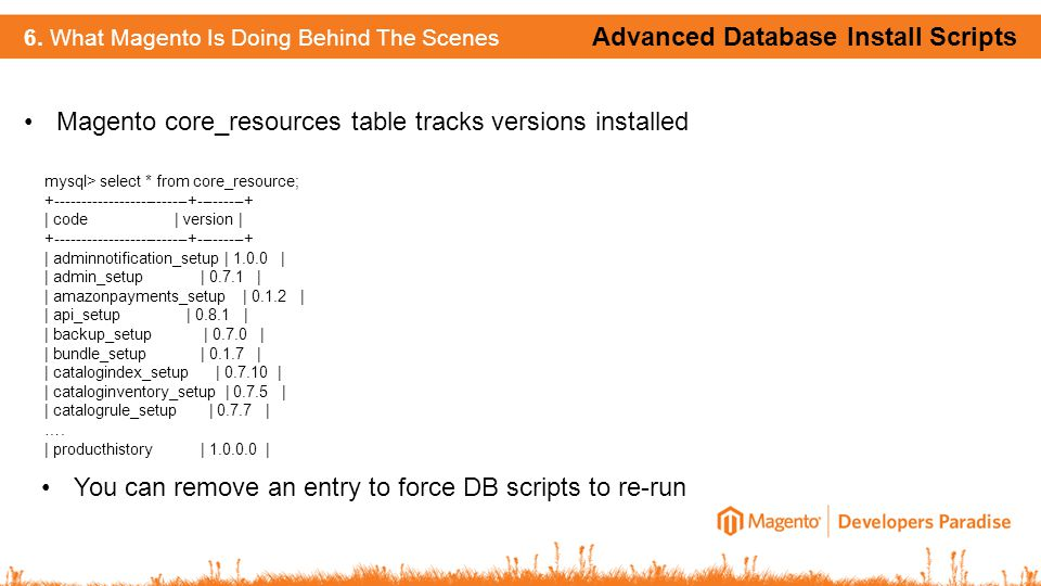 Advanced Database Install Scripts 6. What Magento Is Doing Behind The Scenes Magento core_resources table tracks versions installed mysql> select * fr