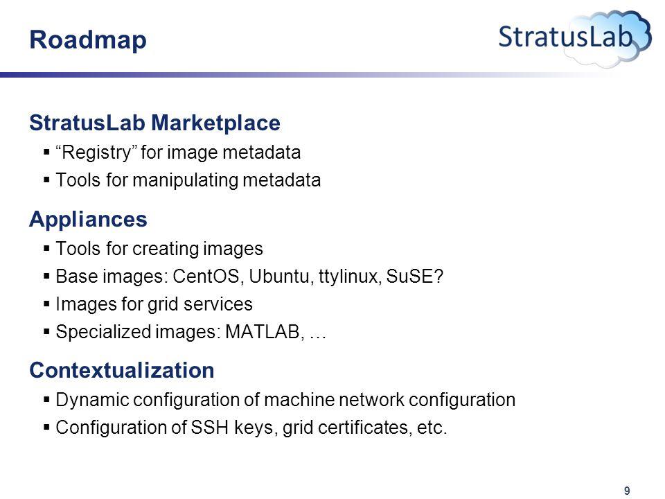 9 Roadmap StratusLab Marketplace  Registry for image metadata  Tools for manipulating metadata Appliances  Tools for creating images  Base images: CentOS, Ubuntu, ttylinux, SuSE.