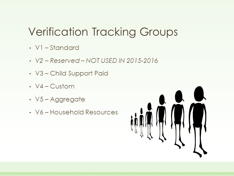 Items To Be Verified – Tax Filer Adjusted Gross Income US Income Tax Paid Untaxed Portions of IRA distributions (exclude Rollovers) Untaxed Portions of Pensions (exclude rollovers) Tax-Exempt Interest Income Education Credits Number of Household Members Number in College Supplemental Nutrition Assistance Program (SNAP – Food Stamps) Child Support Paid Other Untaxed Income Payments to Tax-Deferred Pension and Savings Child Support Received Housing, food, and other living allowances paid to members of the military, clergy, and others Veterans Non-education Benefits Other untaxed income Money received or paid on the applicant's behalf