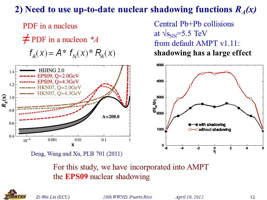 Zi-Wei Lin (ECU) 28th WWND, Puerto Rico April 10, 2012 12 2) Need to use up-to-date nuclear shadowing functions R A (x) PDF in a nucleus ≠ PDF in a nucleon *A Central Pb+Pb collisions at √s NN =5.5 TeV from default AMPT v1.11: shadowing has a large effect Deng, Wang and Xu, PLB 701 (2011) For this study, we have incorporated into AMPT the EPS09 nuclear shadowing
