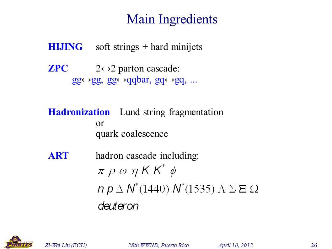 Zi-Wei Lin (ECU) 28th WWND, Puerto Rico April 10, 2012 26 HIJINGsoft strings + hard minijets ZPC2↔2 parton cascade: gg↔gg, gg↔qqbar, gq↔gq,...