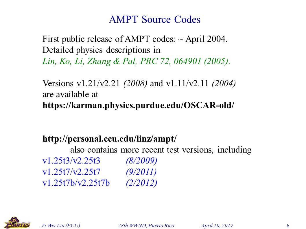 Zi-Wei Lin (ECU) 28th WWND, Puerto Rico April 10, 2012 6 AMPT Source Codes First public release of AMPT codes: ~ April 2004.