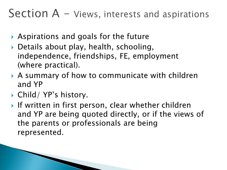 Section A - Views, interests and aspirations  Aspirations and goals for the future  Details about play, health, schooling, independence, friendships, FE, employment (where practical).
