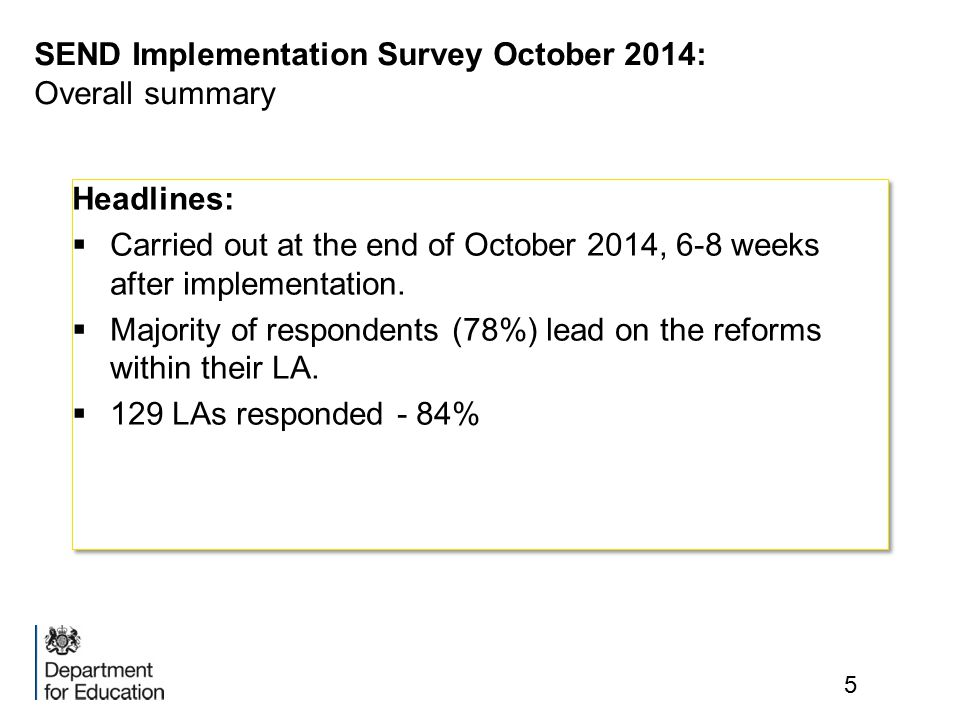 SEND Implementation Survey October 2014: Overall summary 5 Headlines:  Carried out at the end of October 2014, 6-8 weeks after implementation.