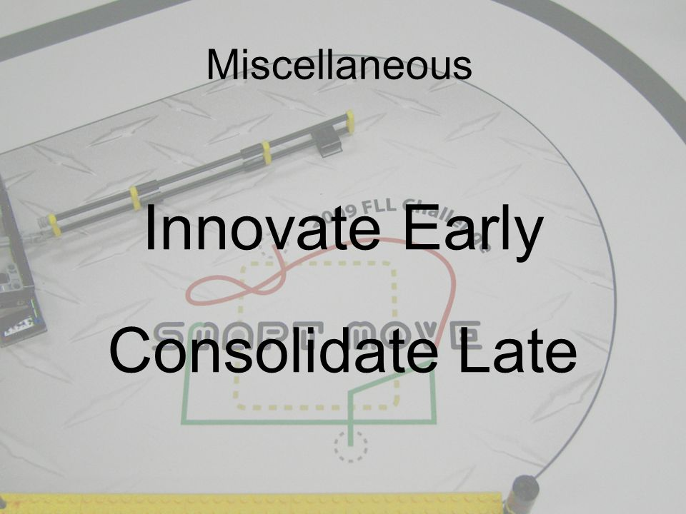 Miscellaneous Innovate Early Consolidate Late