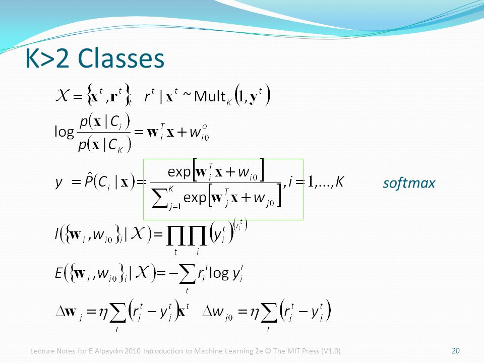 K>2 Classes 20 softmax Lecture Notes for E Alpaydın 2010 Introduction to Machine Learning 2e © The MIT Press (V1.0)