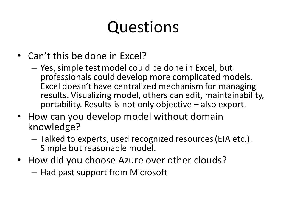 Questions Can't this be done in Excel.
