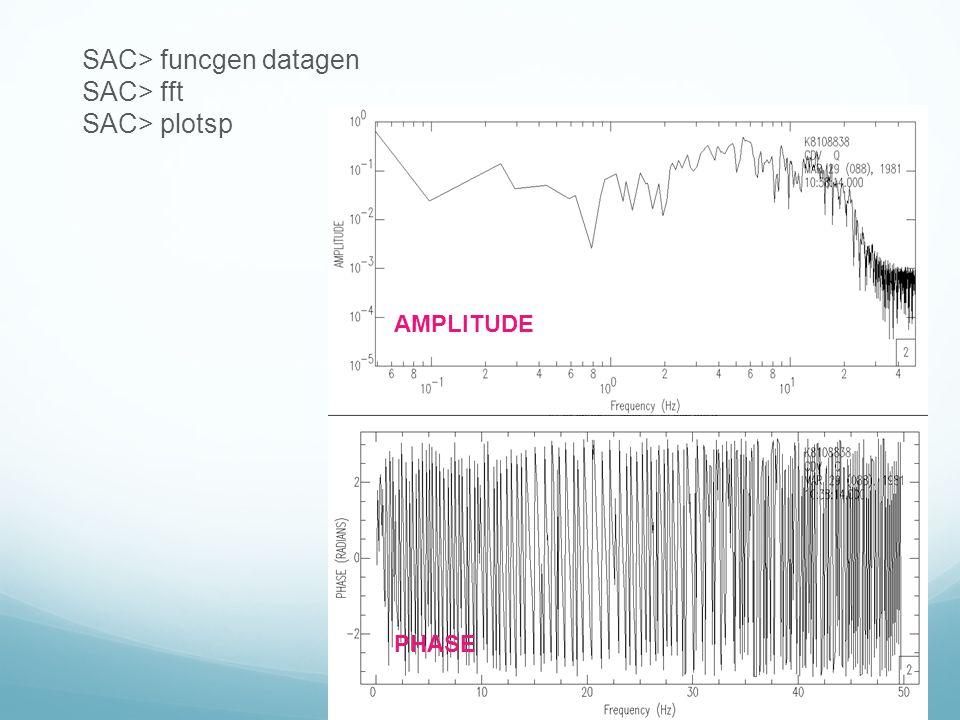 SAC> funcgen datagen SAC> fft SAC> plotsp AMPLITUDE PHASE