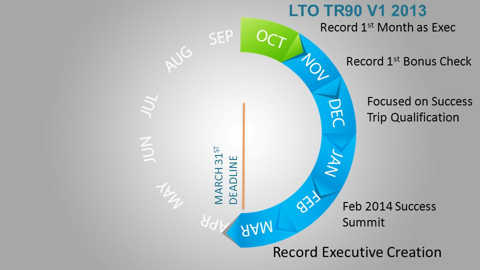 LTO TR90 V1 2013 Record 1 st Month as Exec Record 1 st Bonus Check Focused on Success Trip Qualification MARCH 31 ST DEADLINE Record Executive Creation Feb 2014 Success Summit