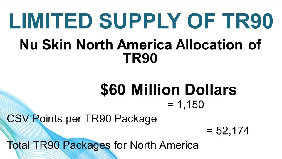 Nu Skin North America Allocation of TR90 $60 Million Dollars CSV Points per TR90 Package Total TR90 Packages for North America LIMITED SUPPLY OF TR90 = 1,150 = 52,174