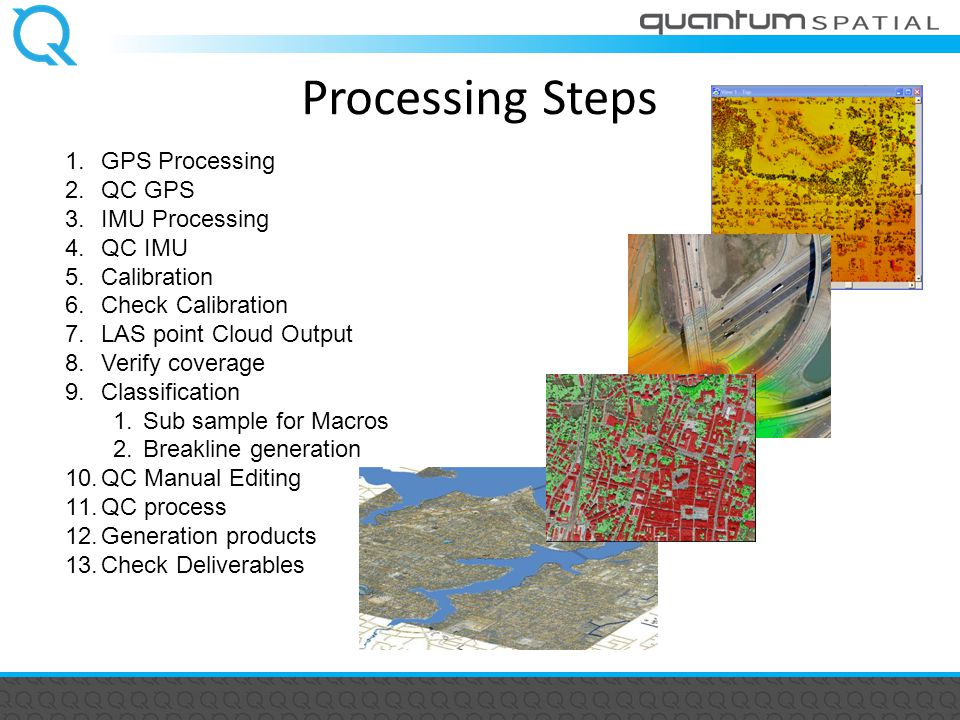 Processing Steps 1.GPS Processing 2.QC GPS 3.IMU Processing 4.QC IMU 5.Calibration 6.Check Calibration 7.LAS point Cloud Output 8.Verify coverage 9.Classification 1.Sub sample for Macros 2.Breakline generation 10.QC Manual Editing 11.QC process 12.Generation products 13.Check Deliverables