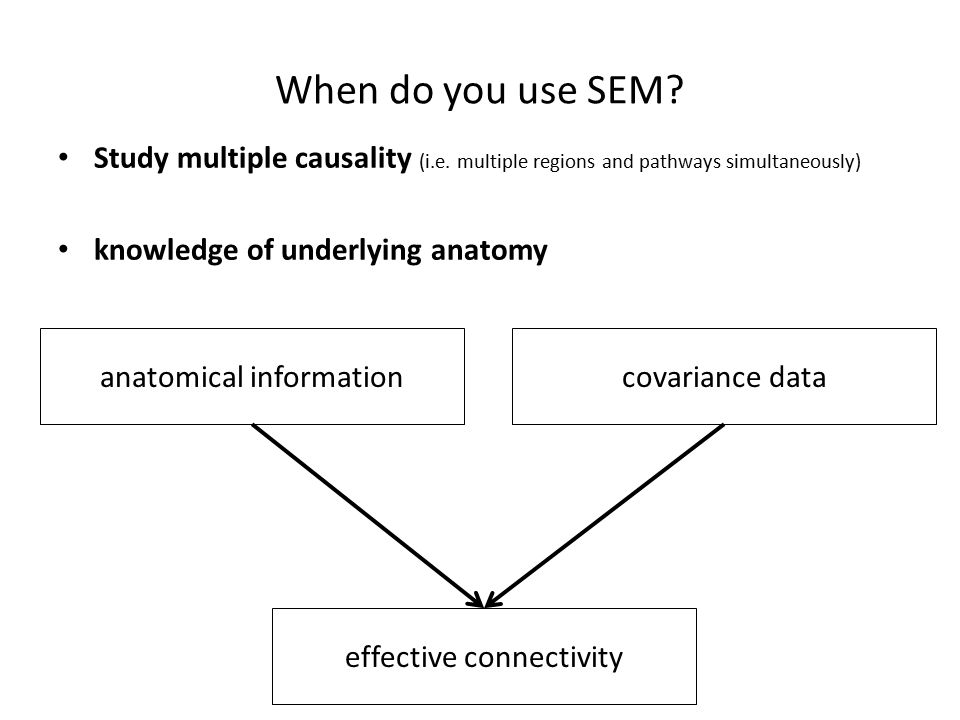 When do you use SEM. Study multiple causality (i.e.