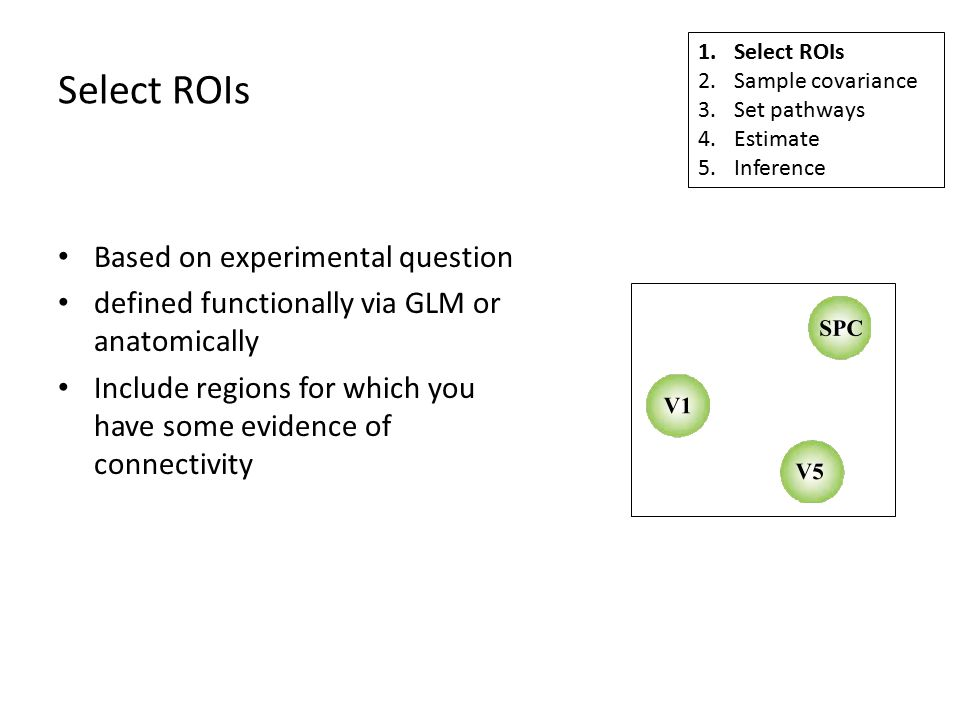 Select ROIs Based on experimental question defined functionally via GLM or anatomically Include regions for which you have some evidence of connectivity 1.Select ROIs 2.Sample covariance 3.Set pathways 4.Estimate 5.Inference