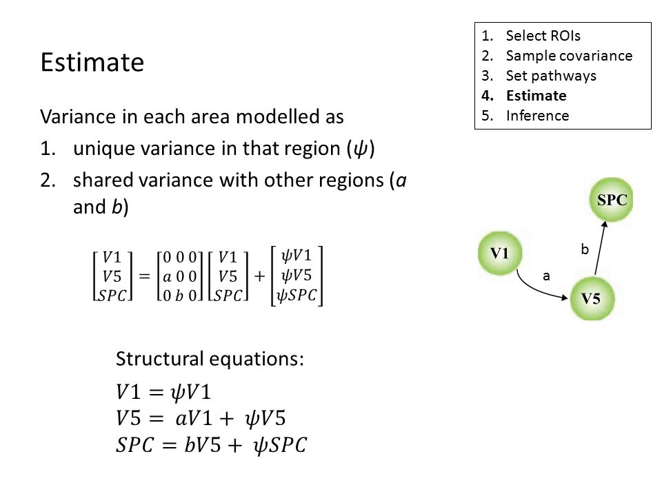 Estimate 1.Select ROIs 2.Sample covariance 3.Set pathways 4.Estimate 5.Inference a b Variance in each area modelled as 1.unique variance in that region (ψ) 2.shared variance with other regions (a and b) Structural equations:
