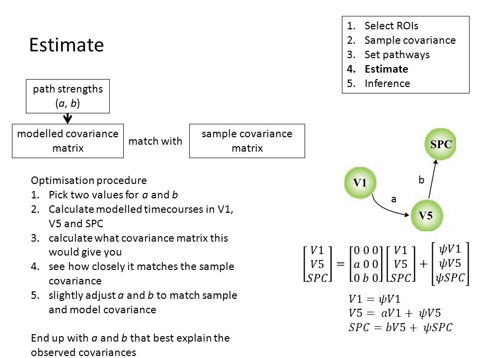 Estimate 1.Select ROIs 2.Sample covariance 3.Set pathways 4.Estimate 5.Inference modelled covariance matrix path strengths (a, b) sample covariance matrix match with a b Optimisation procedure 1.Pick two values for a and b 2.Calculate modelled timecourses in V1, V5 and SPC 3.calculate what covariance matrix this would give you 4.see how closely it matches the sample covariance 5.slightly adjust a and b to match sample and model covariance End up with a and b that best explain the observed covariances