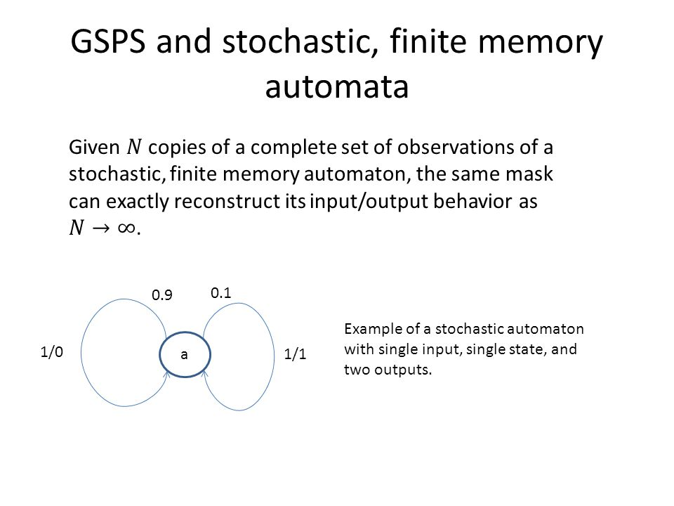 GSPS and stochastic, finite memory automata a 1/1 1/ Example of a stochastic automaton with single input, single state, and two outputs.