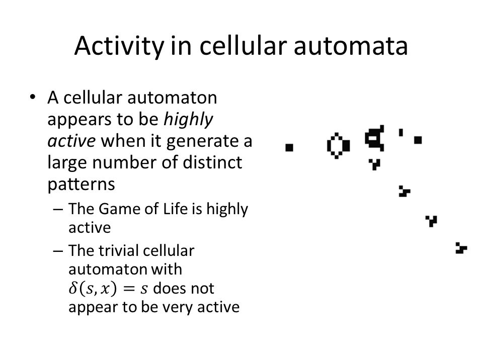 Activity in cellular automata